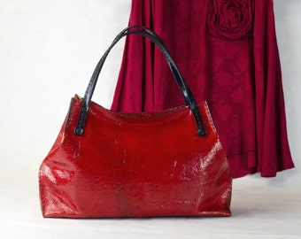 RED - - Tote bag from Crackle leather