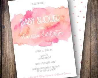 Printable Watercolor Baby Shower Invitation, Girl Baby Shower Invite, Watercolor Girl Baby - Watercolor Wash in Shades of Pink and Coral