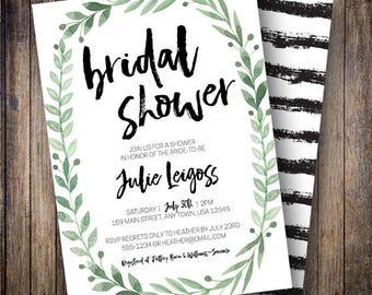 Rustic Bridal Shower Invitation, Watercolor Bridal Shower, Boho Wedding Shower, Minimalist, Greenery Shower Invite, Green, Black