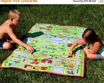 Play Mat Quilt Roadway Cars Trucks Trains Airplanes Fire Resue Police, Boy or Girl Throw Playmat Blanket Tracks Roads, Youth Child Keepsake
