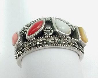 Vintage Sterling Silver Multi Stone Gemstone Marcasite Women's Ring Size 7