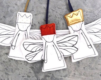 Guardian angel doll , wall hangings , Angel ornament , Set of 3  , christmas angels , new baby gift , nursery decor , flower girl gift