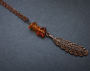 Amber Feather Necklace, Copper Necklace, Antique Copper Necklace, Long Boho Necklace, Amber Necklace