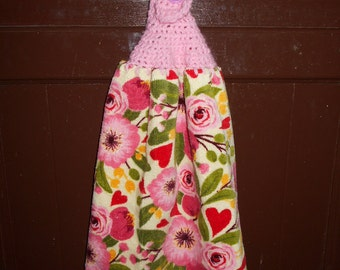 Hand crochet kitchen towel.
