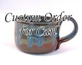 Custom Order for Carl - Shaving Mug - Handmade Pottery - Rust Red Shave Mug - Shave Bowl - Pottersong - Drippy Blue & Rust Red