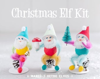 Christmas Elf Craft Kit - DIY Retro Spun Cotton and Pine Cone Elves