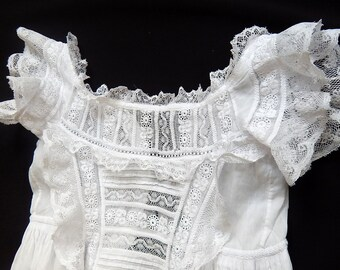 Vintage French Christening Gown Pretty Embroidery and Masses of Embroidery, Lace and  Tucks....so very Sweet and Dainty