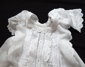 Vintage French Christening Gown Hand Embroidery Elegant Sweet and Dainty
