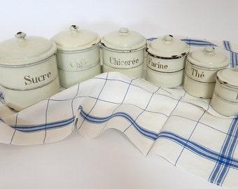 6  Vintage Enamelware Canisters with Lids in Cream and Gold with Free Kitchen Towel!