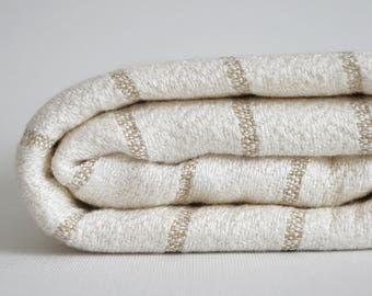 SALE 50 OFF/ BathStyle / Beige Striped / Very Soft / Turkish Beach Bath Towel / Bath, Beach, Spa, Swim, Pool Towels