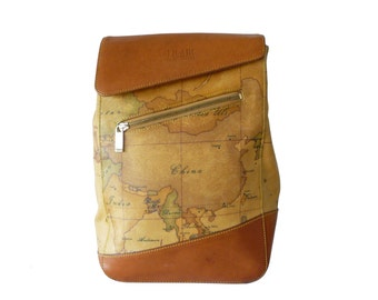 Alviero Martini Prima Classe Geo Map Leather Backpack Made in Italy