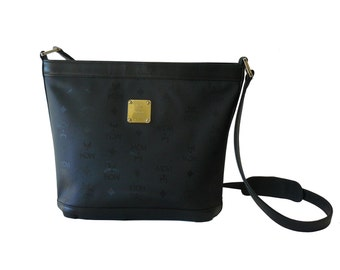 MCM Michael Cromer Black Signature Bucket Crossbody Shoulder Bag Made in Munchen Germany