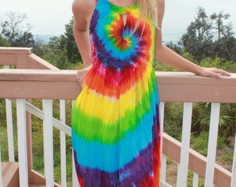 Tie dye Free size Rayon long dress plus size