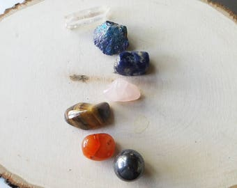 7 Chakra crystal set - Reiki healing, crystal healing, crystal grid, body work, crystal gift set