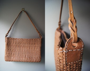 Vintage Woven Leather Purse Tan Leather Bag Boho Bag Leather Purse Leather Handbag Vintage Leather Hipster Bag Bohemian Vintage Lather Bag