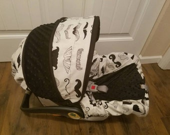 Baby Boy Infant car seat Cover,  Mustache car seat cover, Dapper baby seat canopy,  Custom baby car seat cover- Free Strap Covers