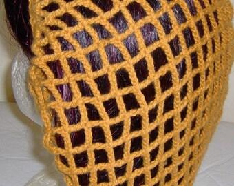 Crocheted hair snood, beanie, slouchy, crochet hair net, foodservice hairnet, made with acrylic yarn, fits short to medium length hair