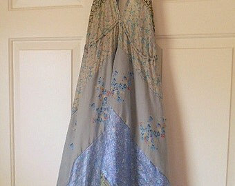 Vintage silk Sari patchwork India Halter Dress