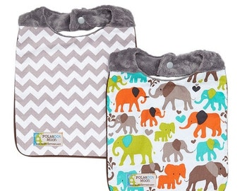 Sale Baby Boy Bib Set (Reversible) Elephant & Chevron on Gray Dimple Minky - FREE Shipping
