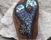 Iridescent Blue Heart, Starfish, Garden Stone, Mosaic, Garden Decor