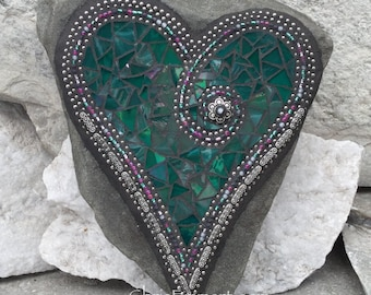 Mosaic Heart, Iridescent Green Heart, Mosaic Rock, Garden Stone, Home Decor, Gardener Gift, Garden Decor,