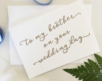 To My Brother On Your Wedding Day, To My Brother Card, Groom Card, Groom Gift, Card For My Brother, Wedding Day Card, Bridal Party Gift