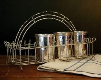 Vintage Metal Basket Metal Tote / Garden Basket with Metal Handle / Metal Kitchen Tote with Compartments / Kitchen Studio Organization