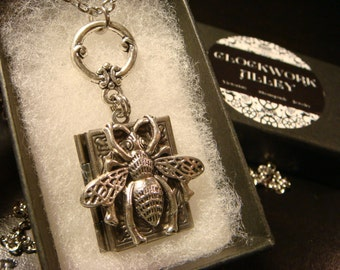 Victorian Style Bumble Bee  Book Locket Necklace in Antique Silver (2282)