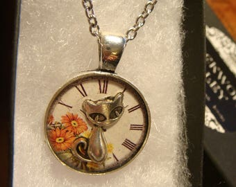 Small Silver Cat Over Floral Clock Pendant Necklace (2389)
