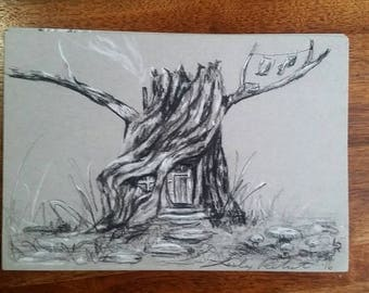 "Original Charcoal Gnome House Drawing 5.5""x8.5"" / nature / gnome / stump / tree / fantasy"