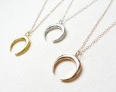 Double Horn Necklace, Gold Silver Rose Gold Horn Necklace, Layered Boho Necklace, Moon Necklace, Dainty Cresent Horn Necklace, Boho Jewelry