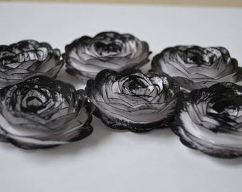 Gothic Inspired Painted White Paper Roses, for Events, Crafts, and Weddings Black Painted