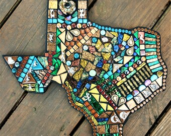 """TEXAS MOSAIC - Custom Mosaic of ANY State!  / Priced @ 1 Dollar Per Sq. Inch / This One is 15""""x15"""" - Pick Your Size, Pick Your Price!  Ooak"""