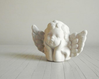 Chalkware Cherub | Winged Angel Face | French Country Cottage Chic Decor | Holiday Ornament Vintage Decor