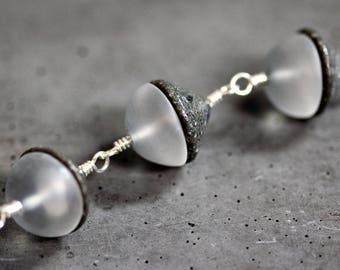 Einstein Stone Necklace, Gray Black Cobblestone Matte Quartz Gemstone Simple Statement Necklace - Theory of Relativity