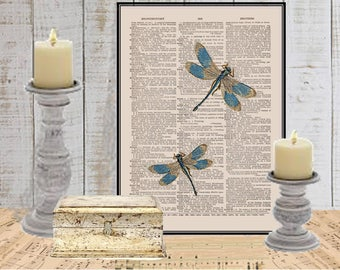 Blue tip Dragonfly digital art wall decor on dictionary or music page COUPON SALE Insects Dictionary art print Sheet music print Item #669
