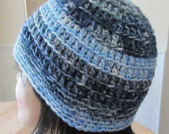 Blue Beanie Blue Hat Blue Crochet Beanie Cold Weather Accessory Hockey Mom Ice Skating Snow Playing Free Shipping in the USA