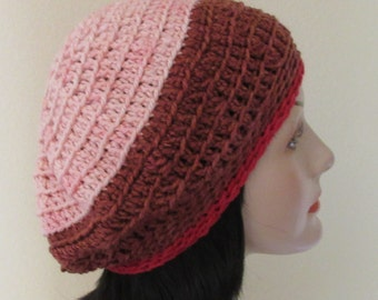 Pink Crochet Tam, Crochet Pink Slouchy Beanie, French Beret, Pink Tam, Slouchy Crochet Hat, Wool Slouchy Hat, Cold Weather Accessory