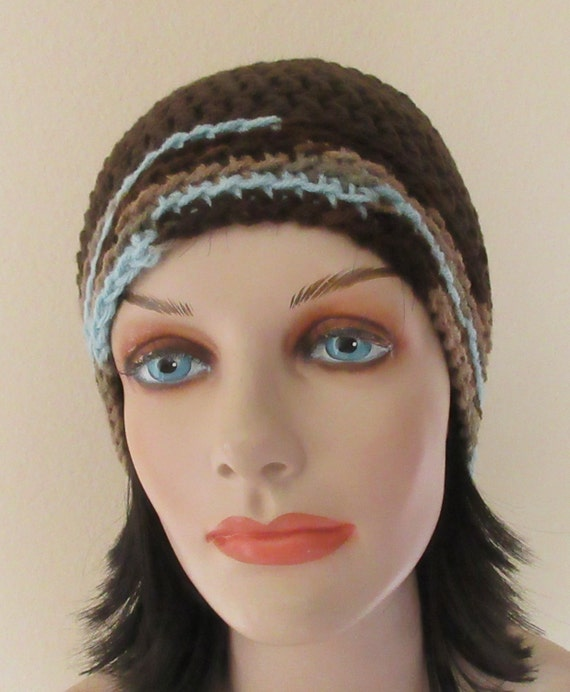 Brown Beanie, Crochet Beanie, Cold Weather Hat. Hockey Mom, Ski Hat, Snow Playing, Brown and Blue Snow Hat