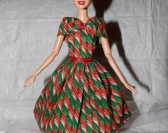 Red & green holiday dress with shall collar for Fashion Dolls - ed956