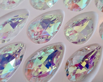 10 - 38mm AB Chandelier Crystal Prisms Asfour AB Pear Shaped Chandelier Prisms