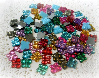 100 Flat Back Resin Butterfly Rhinestones Acrylic Gems for Scrapbooking Cards Mini Albums and Papercrafts Jewelry DIY