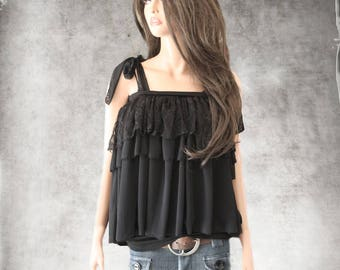 Black ruffle top/lace layer blouse/pullover adjustable straps