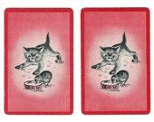 WATER BOWL SHOWDOWN (2) Vintage Playing Cards Single Swap Paper Ephemera Scrapbook