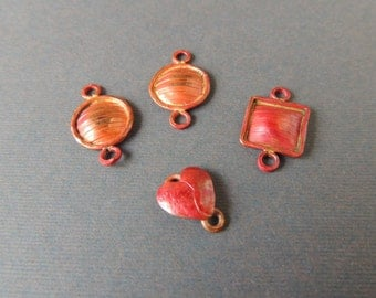 Copper Links, Heat Treated Copper, Handmade Copper, Square Links, Round Links, Heart Link
