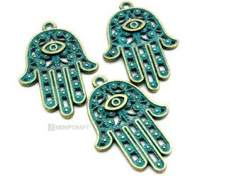 Large Hamsa Pendants, 3pc Patina Bronze Pendant, 42x28mm