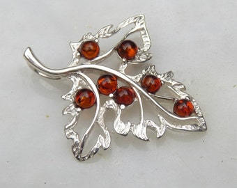 Baltic Amber Jewelry Leaf Shaped Pendant Cognac Small 925 silver 925 Silver