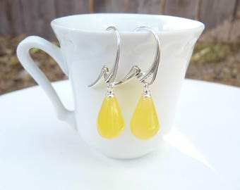 "Baltic Amber Butterscotch Drop Earrings Natural Untreated 1.41"" 2.7 gram 925 Silver"