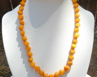 "Baltic Amber Antique Butterscotch Necklace Faceted Beads Yolk 17.5"" 13.4 gram"