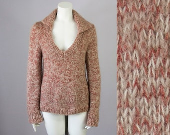 70s Vintage Marled Wool Deep V Sweater. Made in Italy (M)
